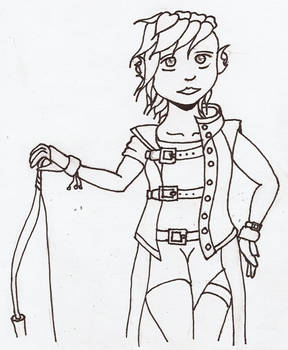 Sylvari with longbow inked