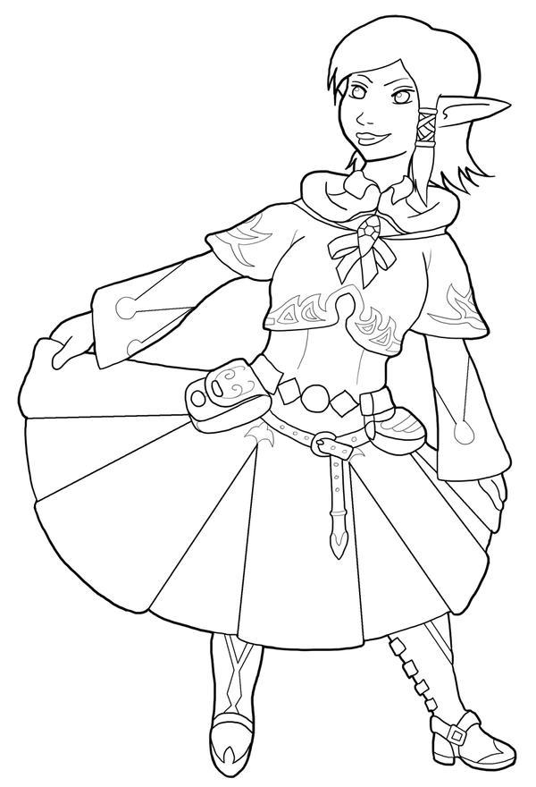 Ariannas enjoying FFXIV's white mage armour-Inked by Nefa-Aria