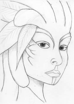 Aria Snowdrop pencil sketch