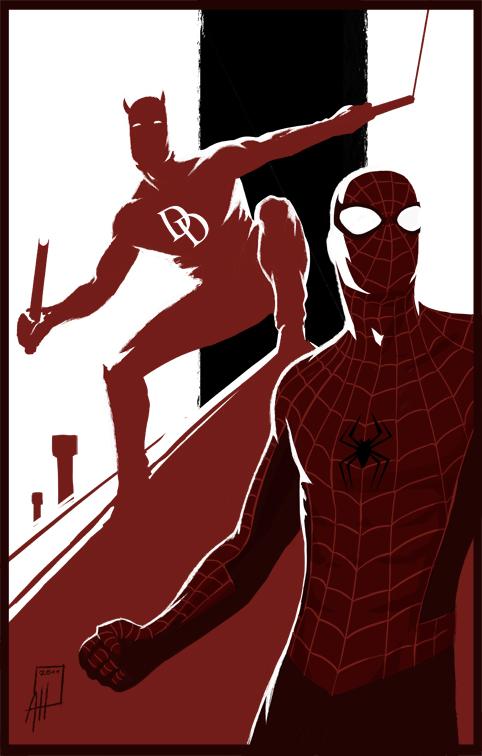 Spider-Man Daredevil Teamup by deralbi