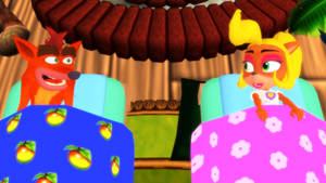 MMD Crash and Coco in their beds
