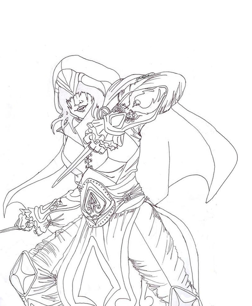 Line Drawing Female : Female assassin line art colouring in template by