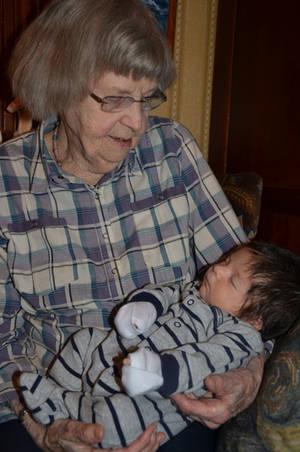 Great Grandma Peggy holding Great Grandson Jack