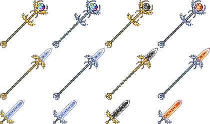 Some pixel weapons, and color variations