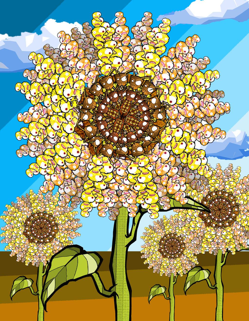 Van gogh sun flower ( insects everywhere) by BrainBlueArts