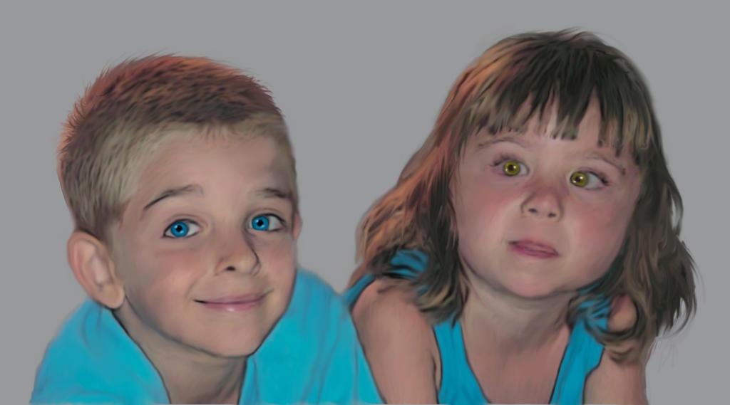 portrait of my nephews by BrainBlueArts