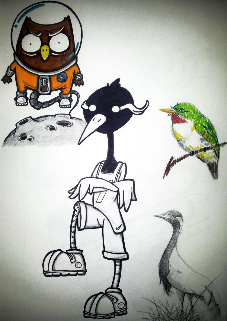 way home birds by BrainBlueArts