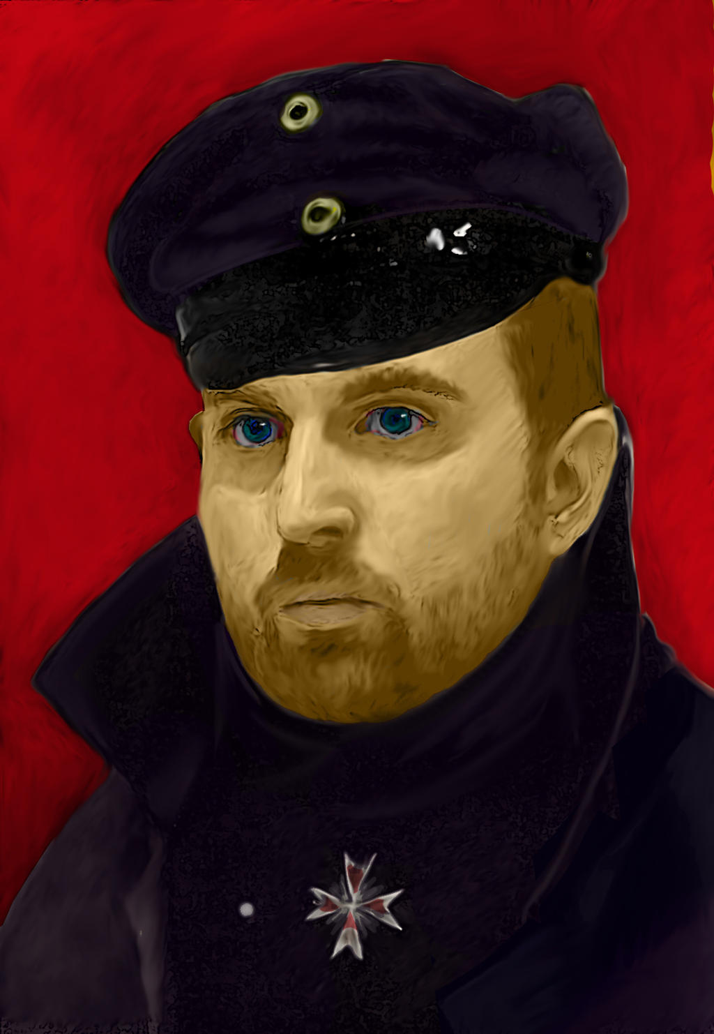 Self-portrait cameo with the Red Baron by BrainBlueArts