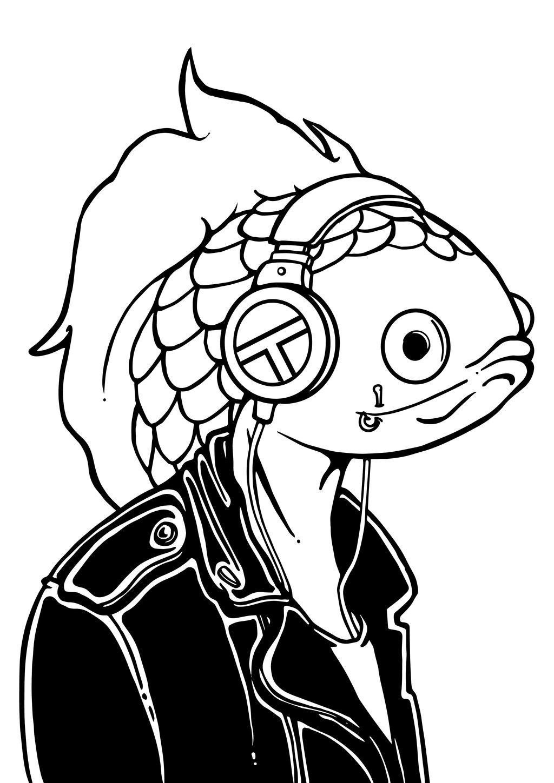 Punk fish ink by BrainBlueArts