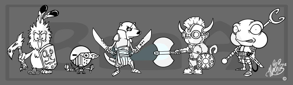 Animal warriors ink by BrainBlueArts