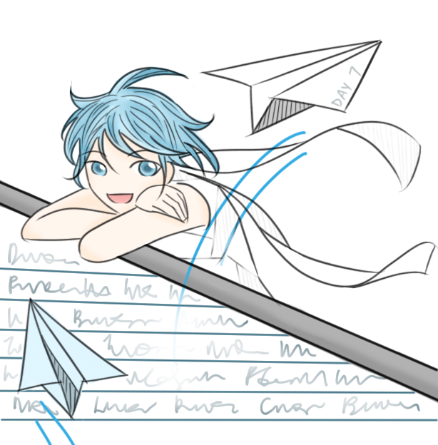 7 Day Drawing Challenge - Day 7 - Paper Plane by FloatingPinkElephant