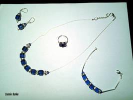 Blue and Silver Swarovski set by Miskwaadesi