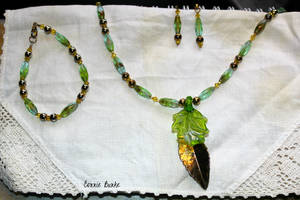 Gold and Green Leaf Set by Miskwaadesi