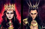Morgana Pendragon  and Loki Lafeyson