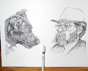 man with glasses illustration