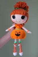 LALALOOPSY Pumpkin Candle Light Amigurumi Doll