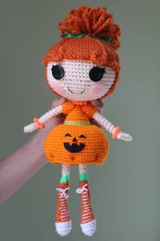 LALALOOPSY Pumpkin Candle Light Amigurumi Doll
