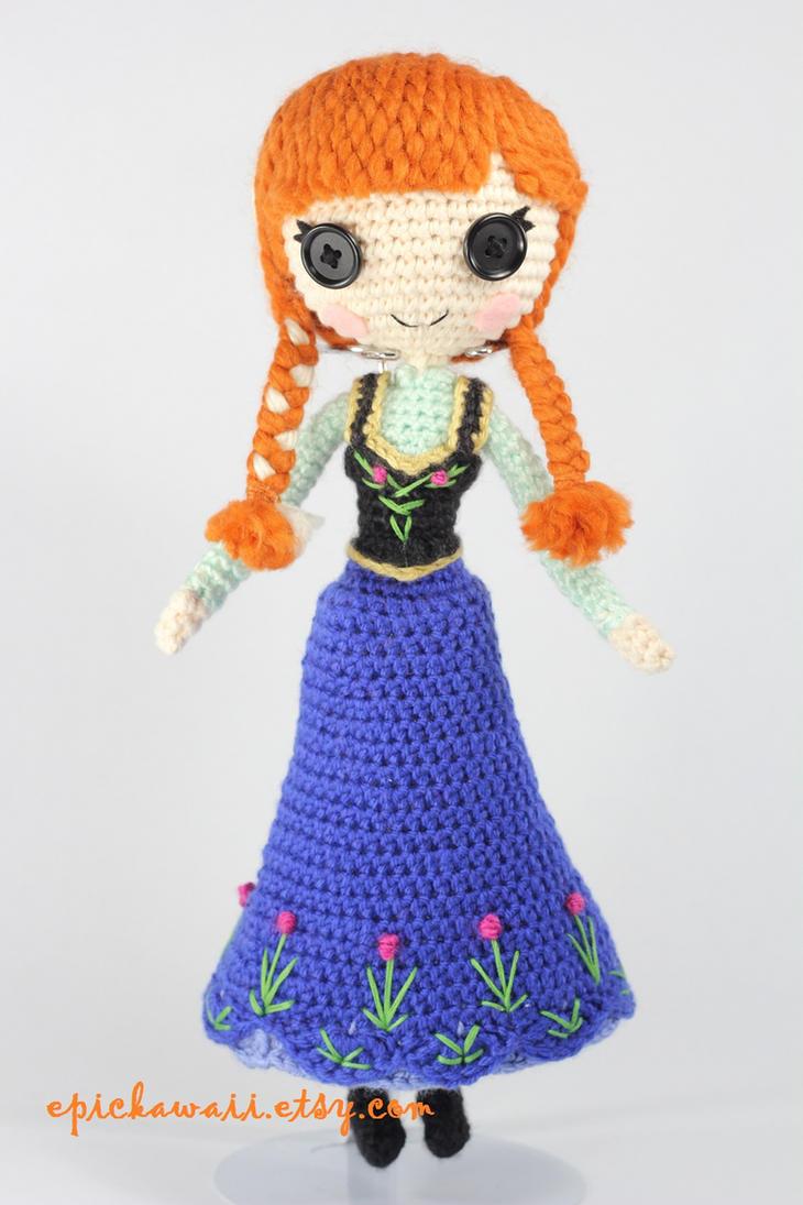 Crochet Frozen Doll : Princess Anna from Disneys Frozen Amigurumi Doll by ...