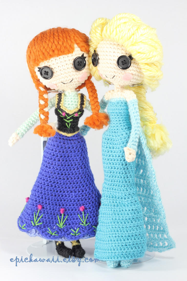 Amigurumi Frozen : Anna and elsa crochet amigurumi dolls by npantz on