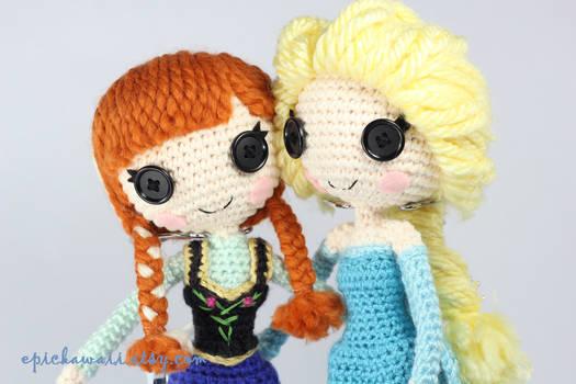 Anna And Elsa Crochet Amigurumi Dolls