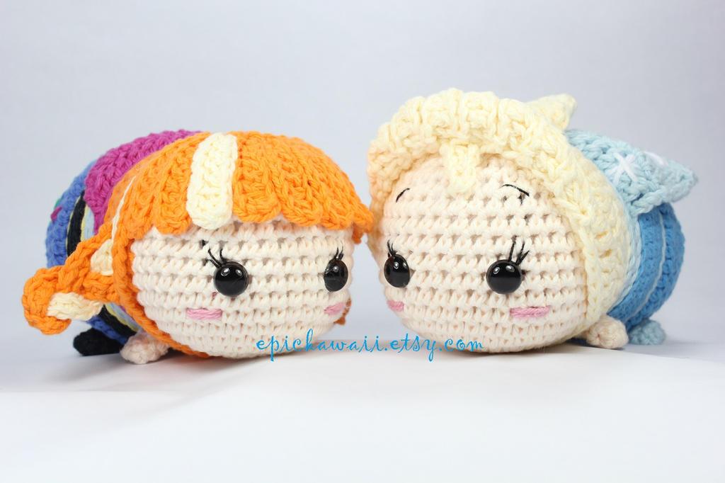 Anna and Elsa Tsum Tsum Crochet Amigurumi Dolls by ...