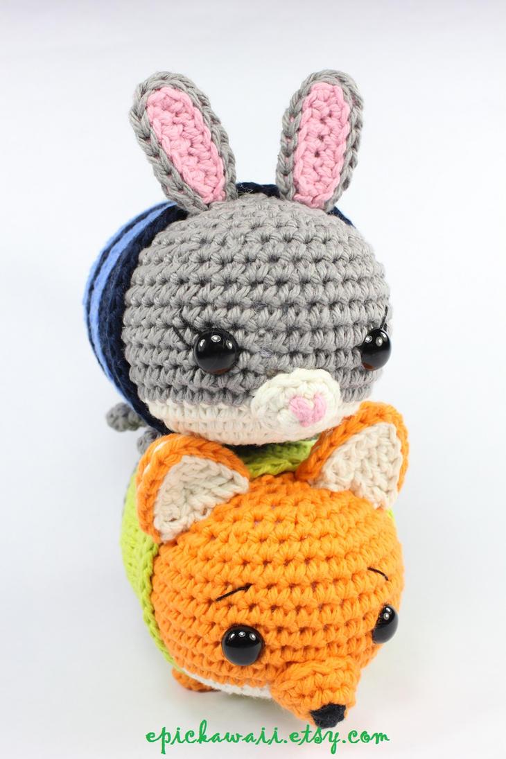 Judy Hopps and Nick Wilde Zootopia Tsum Crochet by Npantz22