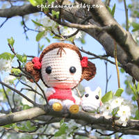 Mei and Chibi Totoro sitting in a pear tree