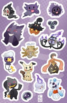 Ghost pokemon sticker sheet