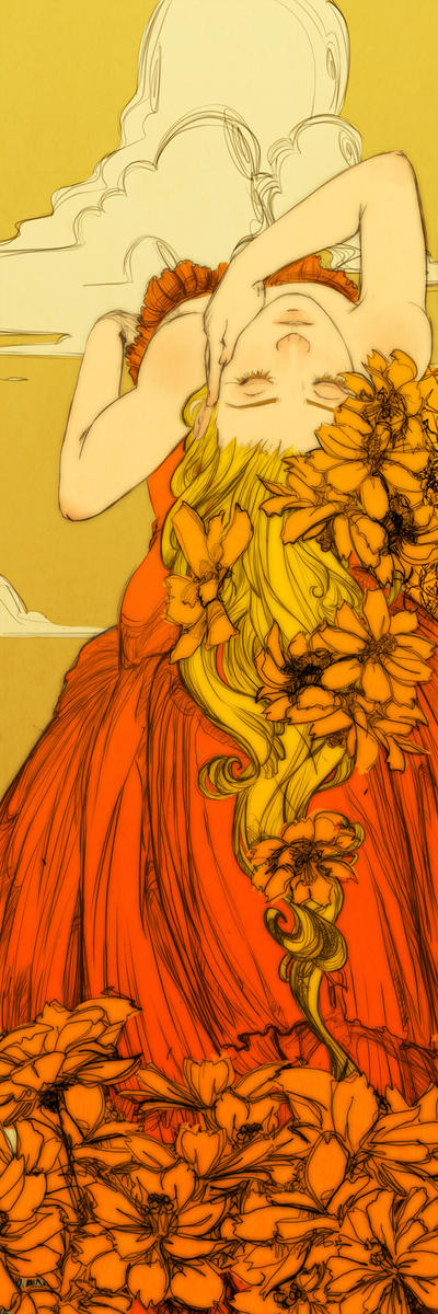 Orange Cosmos Bookmark Revised by Newsha-Ghasemi