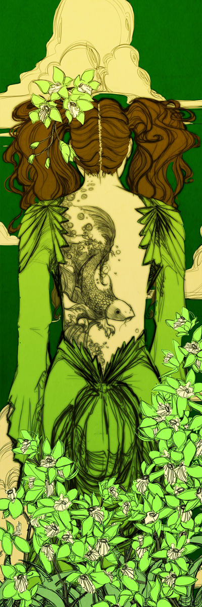 Green Orchid Bookmark Revised by Newsha-Ghasemi