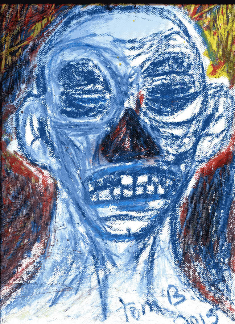 The halloween kid 2015 oil pastels on canvas by tomb1976