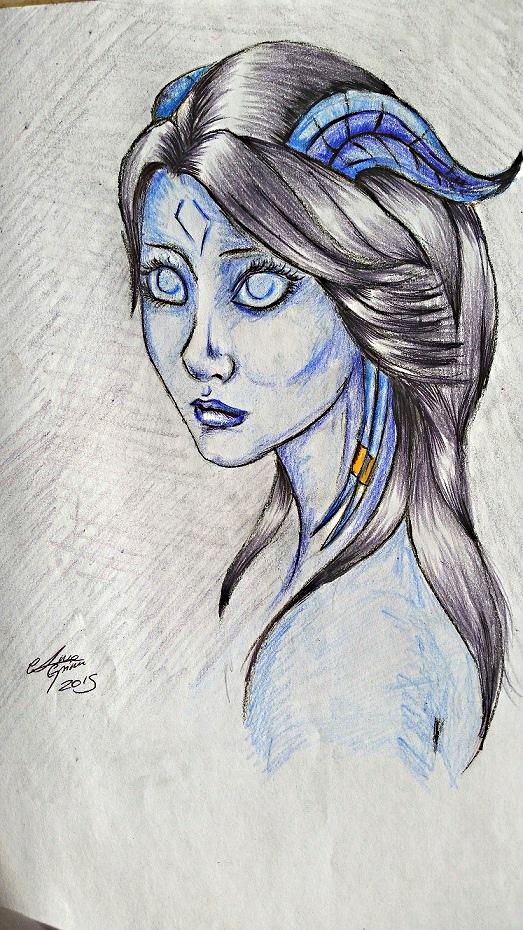 Vom Krieg gezeichnet-Portrait einer Draenei by AnnaGrimm