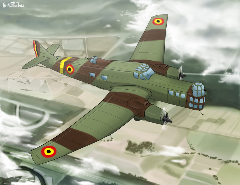 Bomber plane flying over countryside by NuclearJackal