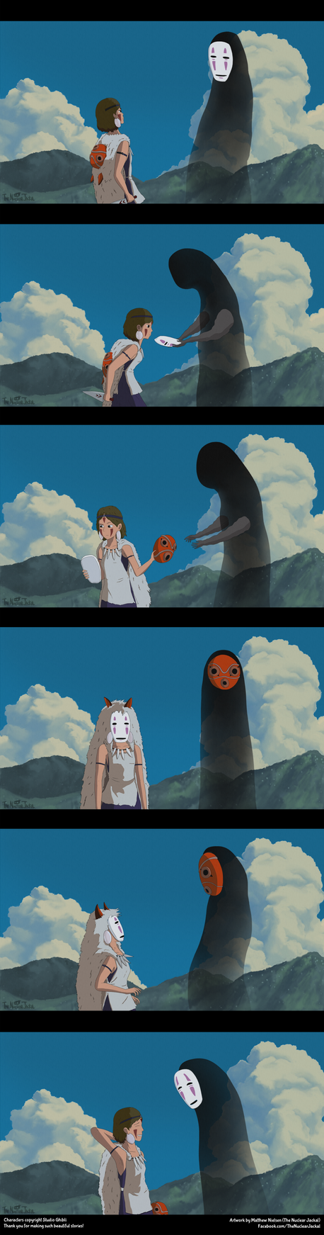 San and No Face mask-swap (Comic) by NuclearJackal