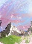 Pinky Evening mountain by NuclearJackal