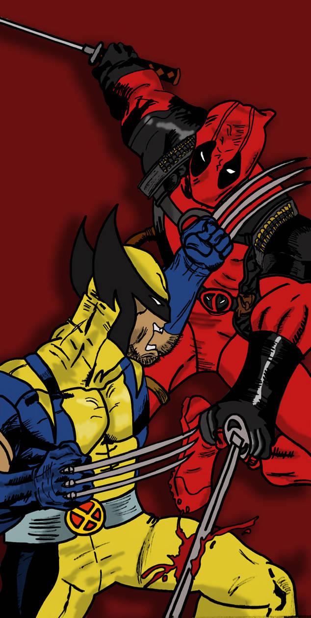 Wolverine vs Deadpool by dimebagsdarrell