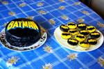 Batman birthday cake and cupcakes