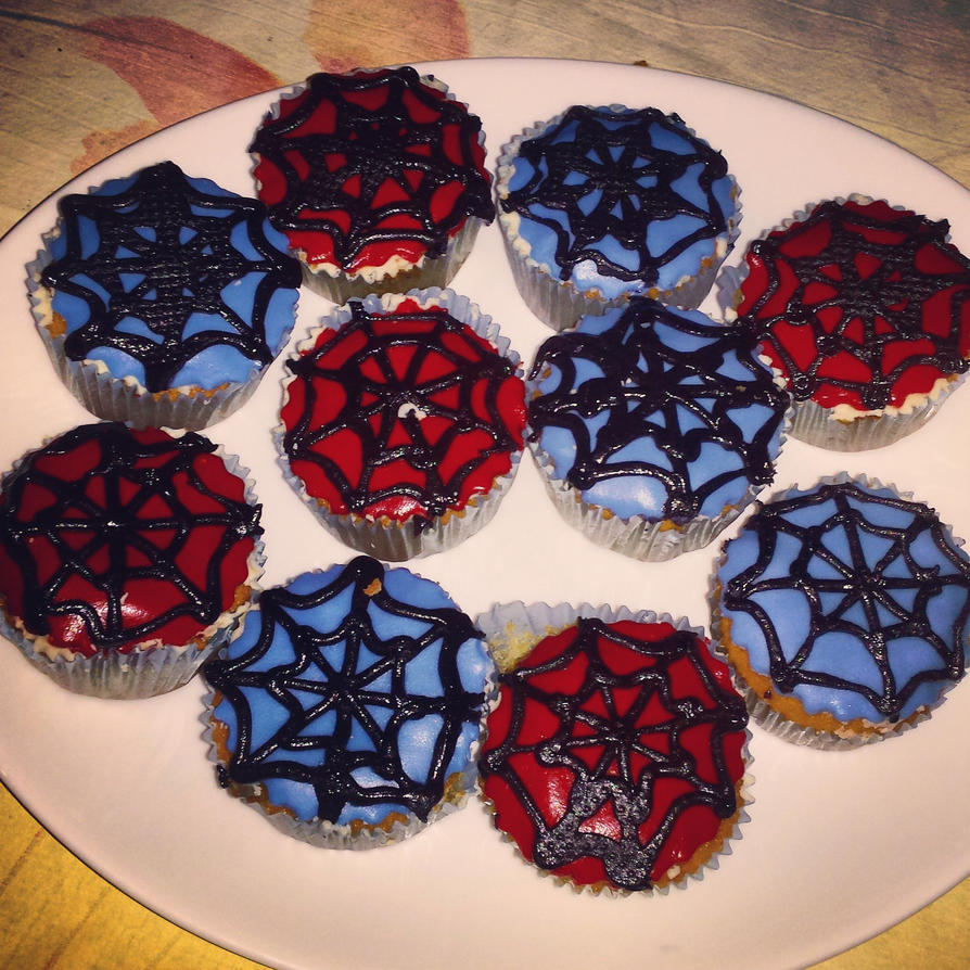 Spiderman Birthday Cupcakes by dimebagsdarrell