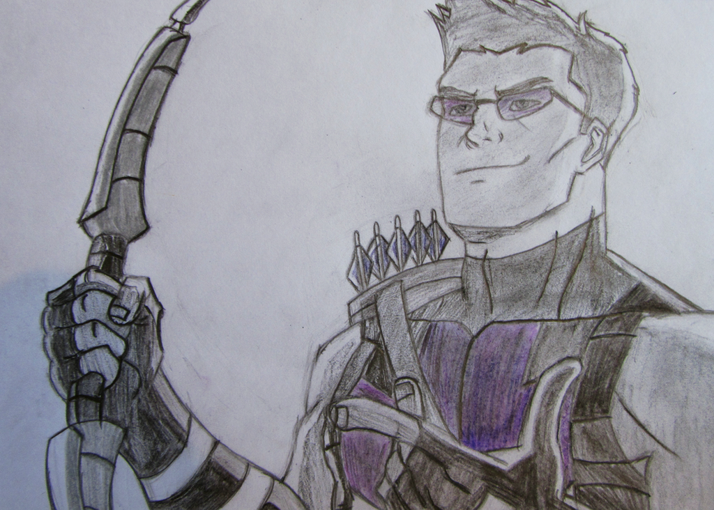 Avengers Assemble Hawkeye Sketch (Colour) by dimebagsdarrell