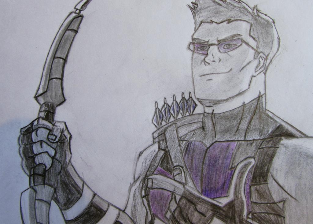 Avengers Assemble Hawkeye Sketch (Colour) by dimebagsdarrell