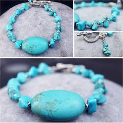 For Sale - Handmade Turquoise Beaded Bracelet by dimebagsdarrell