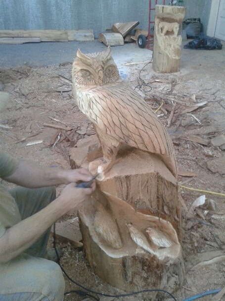 Owl chainsaw carving by m carvings on deviantart