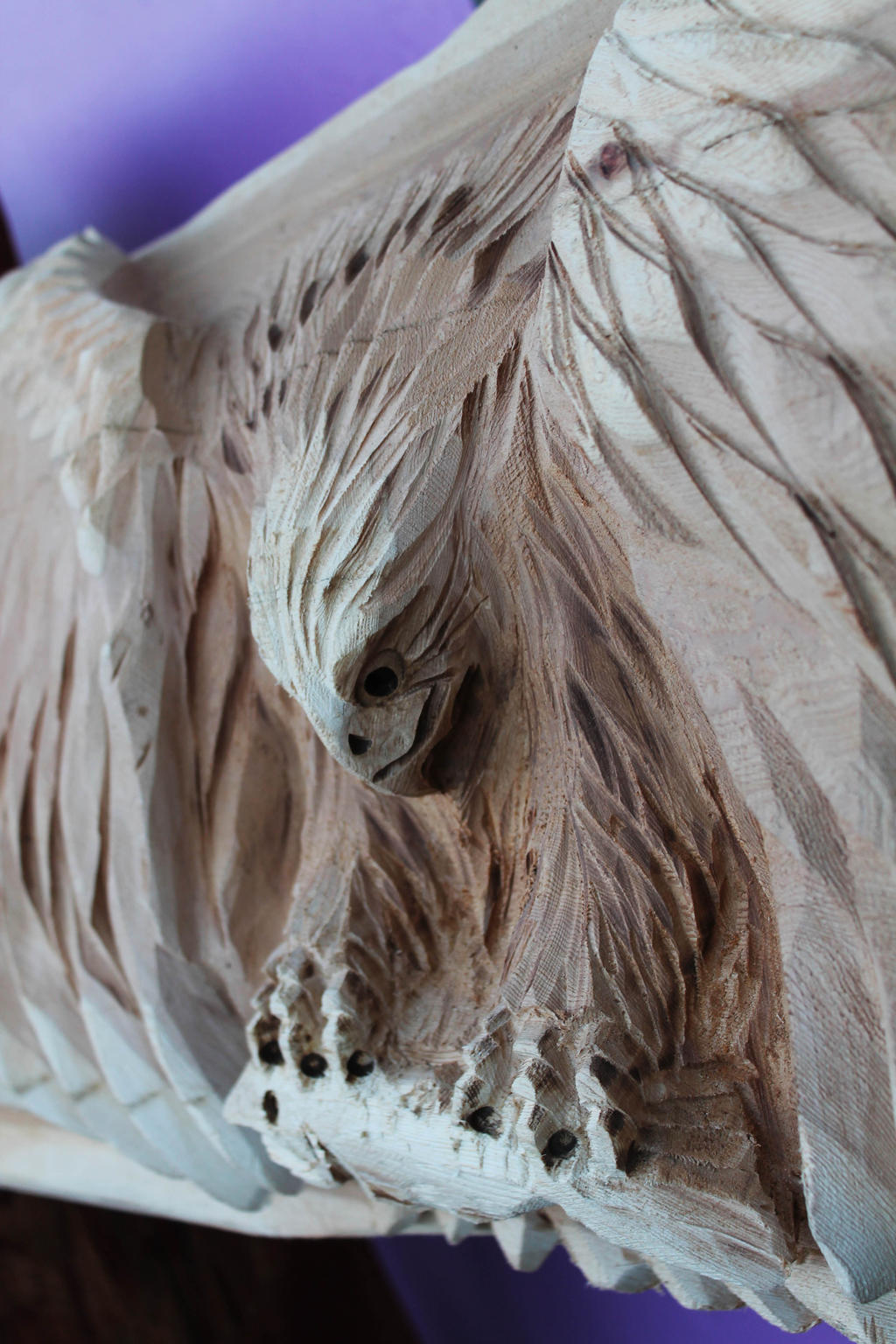 Eagle chainsaw carving upclose by m carvings on