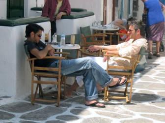 Men at rest in Mykonos by miguetx