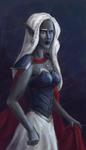 Drow priestess portrait by Sejel