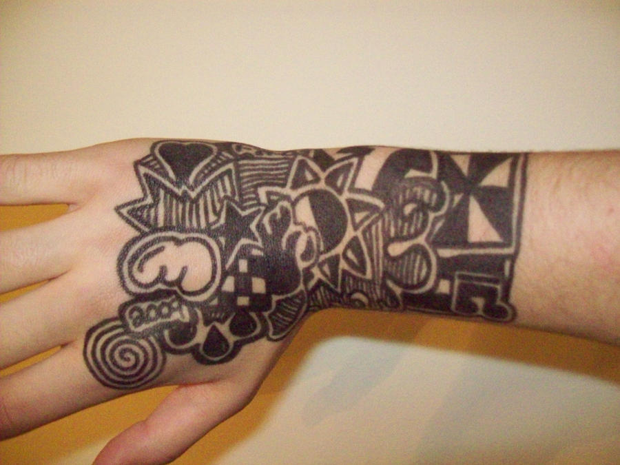 Sharpie on hand by mleaning on deviantart for Cool designs to draw on your hand