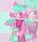 Mina with a plush frog by MinaShizoid