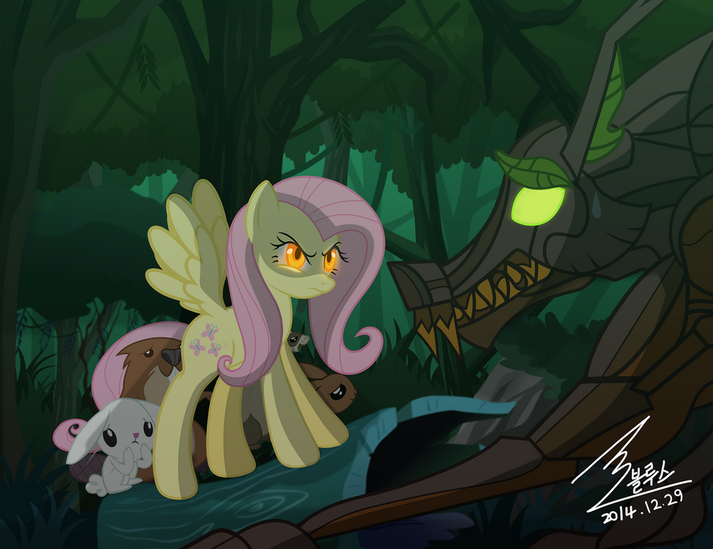 MLP Fluttershy vs Timber Wolf by 0Bluse on DeviantArt