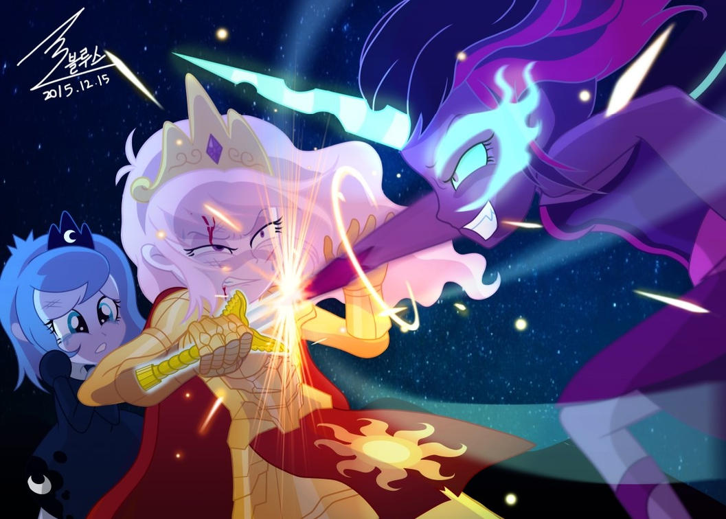 MLP Celestia VS Twilight sparkle by 0Bluse
