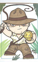 Chibi-Indiana Jones Sketchcard by hedbonstudios
